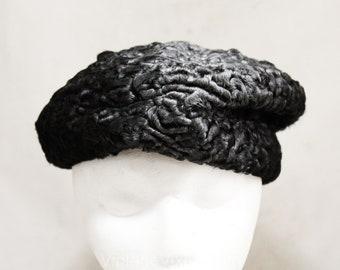 903cca21880 Black Persian Lamb Fur Hat - Gorgeous Ladies  Winter Cap - Silver   Black  Curly Lamb - 1950s 1960s Asymmetric Beret - Lovely Quality - 50278