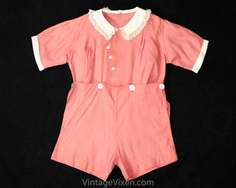 556123478914 Girls 1930s Romper - Size 3T Authentic 30s Pink Cotton Play Outfit - Girl s  Short Sleeve Summer Playset - Buttons Scallops   Lace - Waist 26
