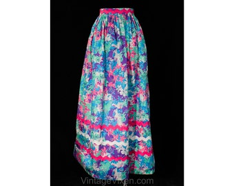 e169d86137 Size 12 Lilly Pulitzer Skirt - 1970s Pink Blue & Purple Floral Print Cotton  with Big Rick-Rack Trim - 70s Summer Maxi Long - Waist 29.5