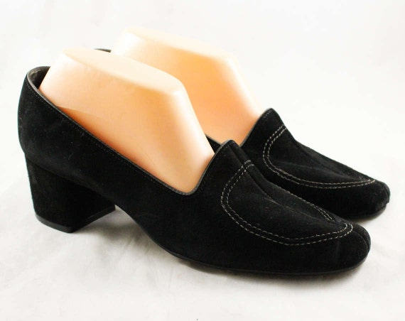 Heels Sophisticated Pumps Black Puppies 10 Size Nice Hush NOS Deadstock Mod Shoes Quality 47654 2 70s 10M Suede 60s 1970s XSz7qn76