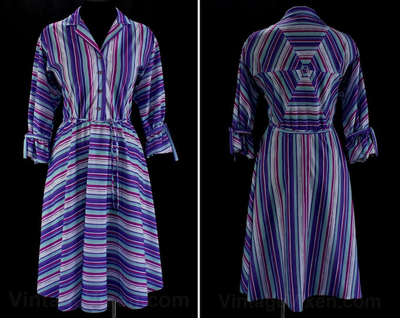 Size 12 Purple Dress  50s Inspired 1980s Striped Shirtwaist  image 0