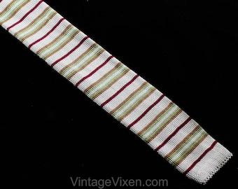 1980s Giorgio Armani Men's Tie - Square End Knit Striped Necktie - Retro Mens Designer - Gray Maroon Red Olive Green Tan Brown 80s Silk