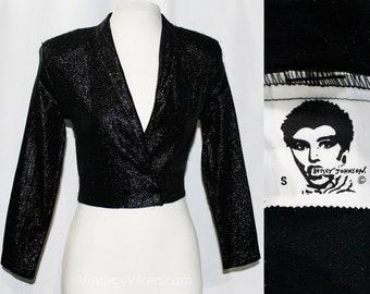 Betsey Johnson Punk Label Jacket - 1980s Shiny Black Stretch Metallic Knit - Broad Shoulders Narrow Lapel Tapered Waist - 80s Club - Bust 32