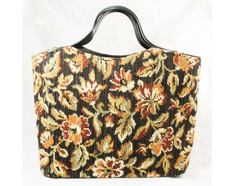 1950s Tapestry Bag - Beautiful Nubby Black Terracotta Maroon & Green Floral 50s Handbag Tote - Mid Century 50's 60's Open Top Purse - 48887