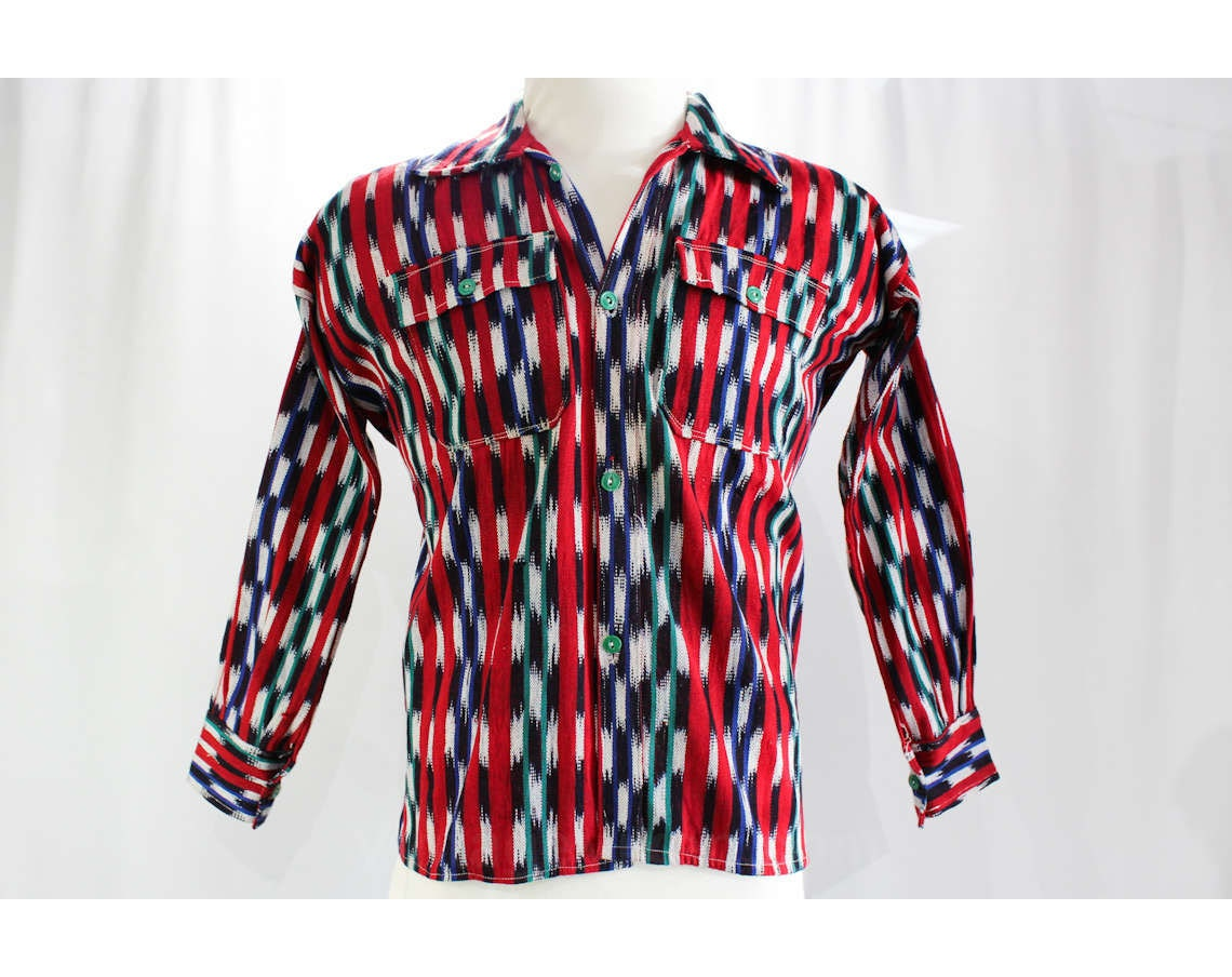 1940s Men's Shirts, Sweaters, Vests Size Medium Mens Western Shirt - Late 40S 50S Cowboy Top Like Chimayo Saltillo Handwoven Cotton Red Green Blue Americana Chest 43 $35.95 AT vintagedancer.com
