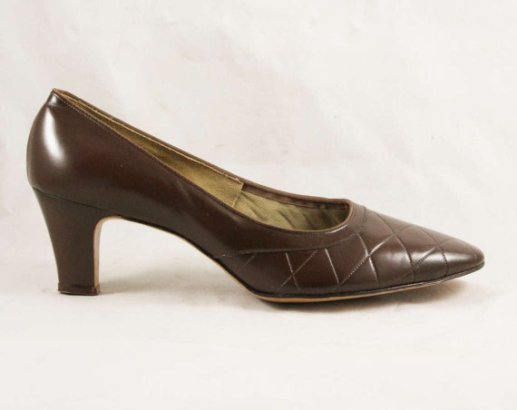 Shoes Quilted 9AA Pumps Size Beautiful 47689 1 Leather 9 5 Top Cocoa Worn Inch 1960s Never Heel Stitching 60s Brown Deadstock 2 BqHIwvBC