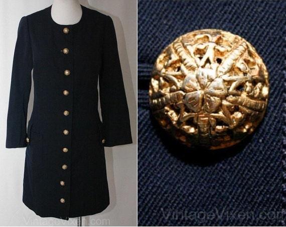 Size 10 Designer Navy Gabardine Dress with Antique