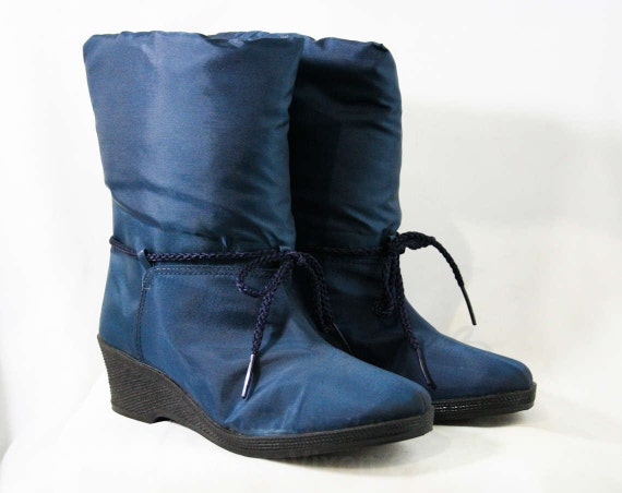 2 Sole Fur Lining Sapphire Deadstock Wedge Ski Shimmery Canvas Apres 6 Tie 80s Winter Boots Ankle Blue Faux 43222 Size Fall xz7q1R4