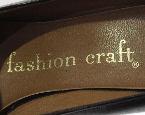Size Deadstock Classic Leather Vinyl Buckles Reptilian 46989 8 Two Shoes Faux Faux Tone 60s Shoe Ruddy Unworn Brown Reptile Pumps T1TqCr