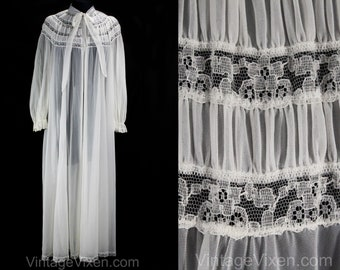 Size 14 White Robe - 1960s Nightgown Layers - Large 50s 60s Sheer Nylon Tricot with Lace & Frou Frou Ruffle - Trousseau Lingerie - 49983