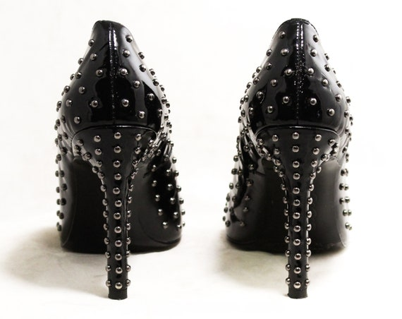 Metal Toes Glossy Shoes Studded Sexy Heels 6 Size Shoes Silver Inch with Open 4 Studs Spike Fetish Black High 50244 Dominatrix 1990s RxwAx0vqI
