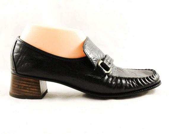 Black Size 60s Pumps Secretary 47731 Hip Loafers 1 Metal Leather Style 8 70s Buckles Loafer NOS 1960s Hipster Unworn Shoes 85rw8zqa
