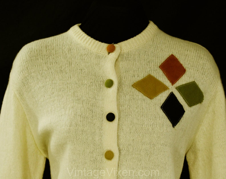 Autumn Jumper Quirky Cute 1960s Button Front Sweater Size 10 Atomic 60s Cardigan Bust 37 Wool Knit with Four Color Flannel Details
