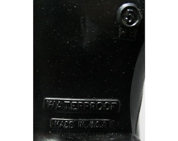 Black Waterproof 50s Width Authentic 1950s Deadstock Size Winter Victorian Vinyl Boots WW Fleece Inspired 44497 1 Wide Lined 5 Exxq4zp