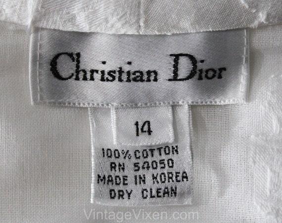 Dior White Paris 14 Brocade Fresh Large Top Flowers Blouse Shirt Christian Size Cotton 50746 Designer Long Bust 1990s 40 Sleeved zdEAwqxXx