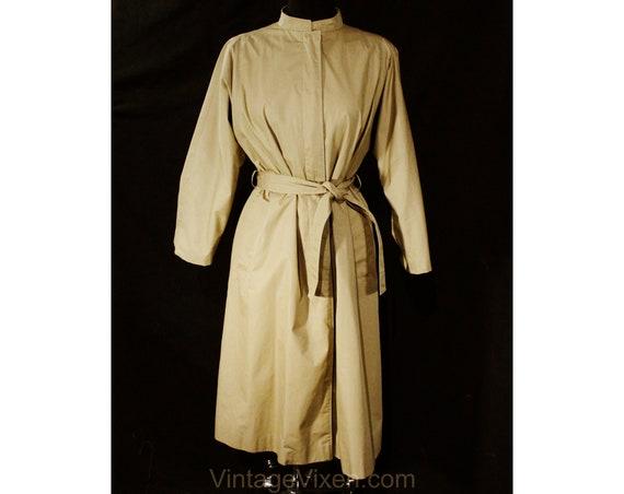 Size 12 Designer Trench Coat - 1980s Tan Cotton O… - image 1