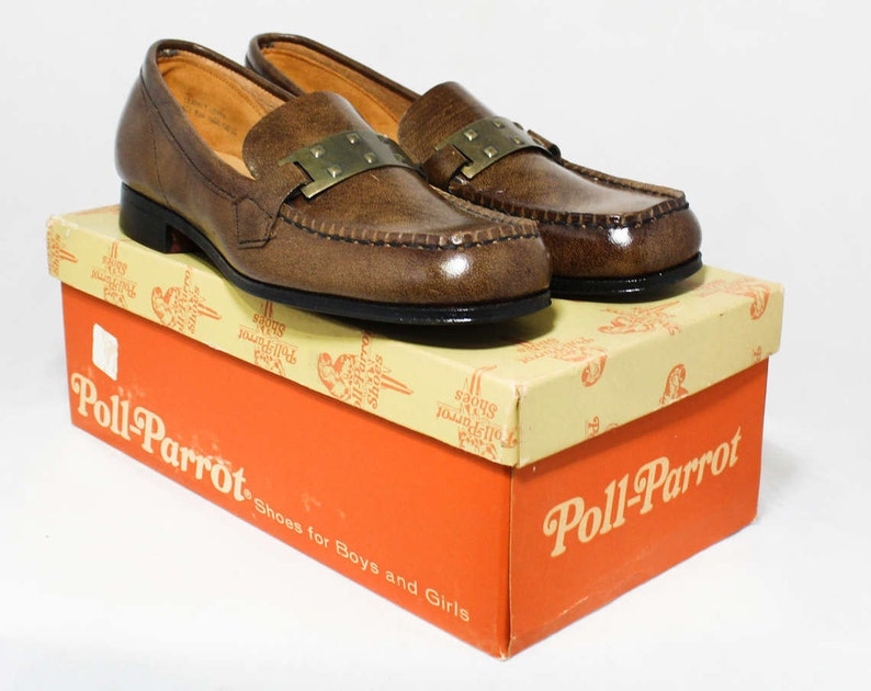 01ba4321e6d1a Size 2 Boys Shoes - Authentic 1960s Brown Leather Loafers - Child Size  Boy's 2 B - Slip On 60's Preppy Shoe - 60s NIB NOS Deadstock in Box