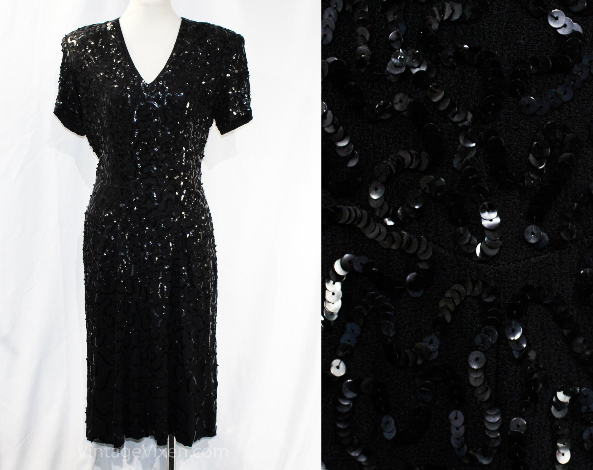 1940s Handbags and Purses History Large 1930S Dress - Custom Made Ca. 1938 Black Crepe  Sequins Cocktail Hollywood Style Wwii Wartime Era Hourglass Bust 39.5 Waist 32 $245.00 AT vintagedancer.com