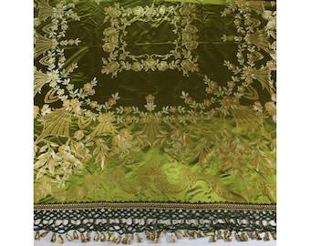 Antique Silk Bedspread - Victorian Edwardian Era 1800s 1900s - Olive Green & Peach Floral Satin Brocade - Ornate Tassels - 75 x 103 - 50679