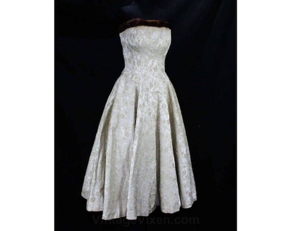 Size Waist Cocktail Party Beige Pin Trim Up Champagne 50s Strapless Boned Debutante Dress Bodice XXS 22 49419 1950s Fur 5 00 Teen UrqzU