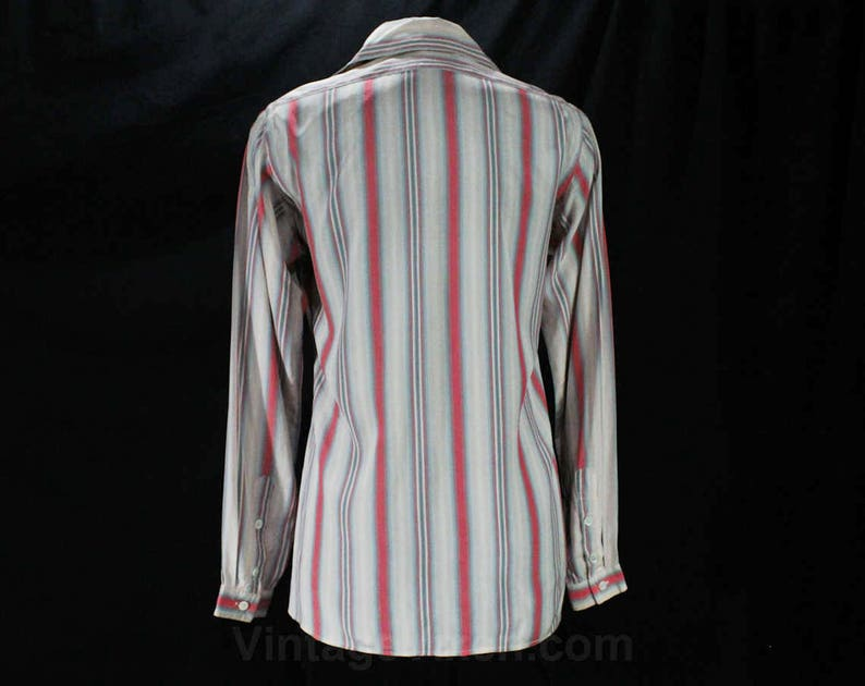 54b1663f7cea44 Size 10 Tailored Shirt Pink   Blue Striped Silk Blouse 70s