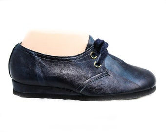 Size 3 Retro Blue 1960s Sneakers - Childrens Teens 60s 70s Shoes - Casual Leather Round Toe Tie Laces - Old School Deadstock - 50596
