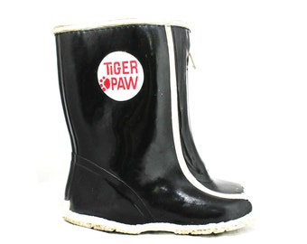 Boys 50s 60s Black Galoshes - Child Size 8 - Authentic 1960s Boy's Rain Boots - Tiger Paw - Kitsch Mid Century Childrens Shoes - Deadstock