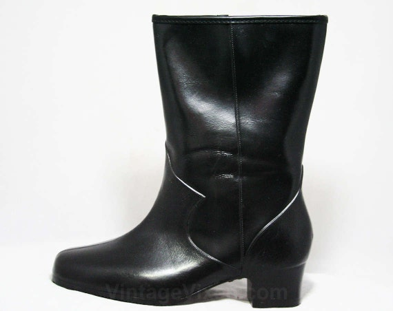 Inspired 50s Wide Size Waterproof Winter Fleece Deadstock WW Width 44497 Lined 5 Victorian Authentic 1 Vinyl 1950s Black Boots qX6ZqS