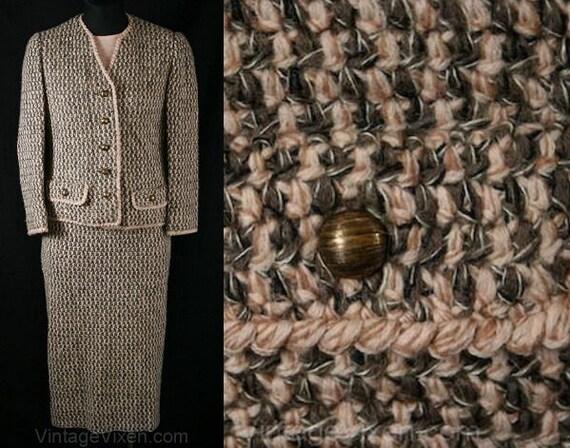 XS 1950s Crochet Suit - Pink & Mocha Hand Crochete