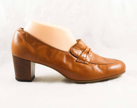 5 Deadstock Shoes Leather Unworn Nice Loafers 60s Size Hipster Brown 4 B Caramel 8 47862 Shoes Chic 8 1960s 60's 2 1 Quality 5qwpazS