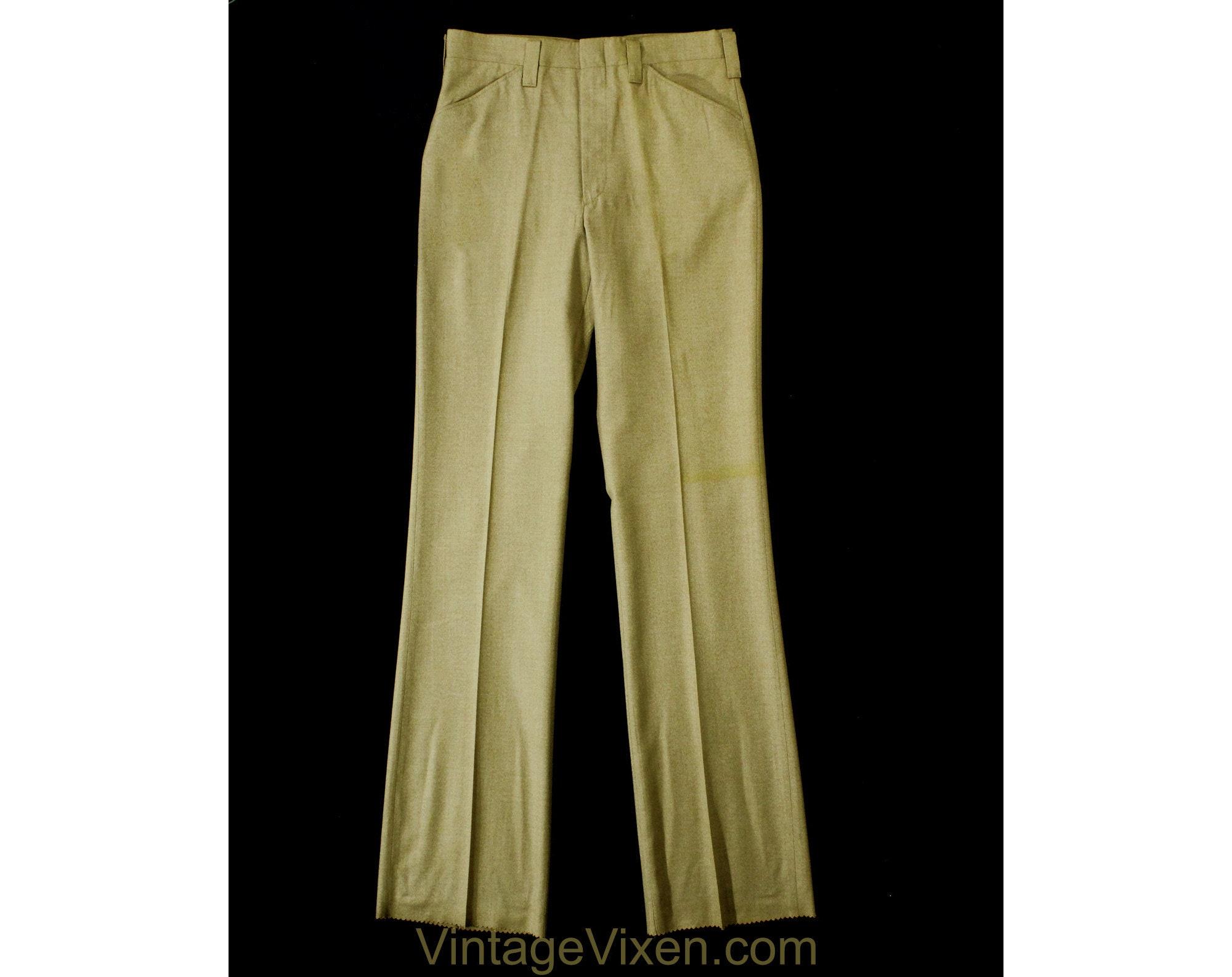 1960s – 70s Men's Ties | Skinny Ties, Slim Ties Mens Medium 60S Pants - Mod Late 1960S Khaki Brown Tailored Pant Boot Cut Flare Trouser Handsome Deadstock Waist 32 Inseam 38 $69.99 AT vintagedancer.com