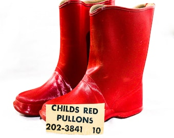 Child Size 10 Red Galoshes - 1950s 60s Child's Glossy Reflective Rain Boots - Waterproof Rubber Wet Weather Children's Shoe - 50s Deadstock