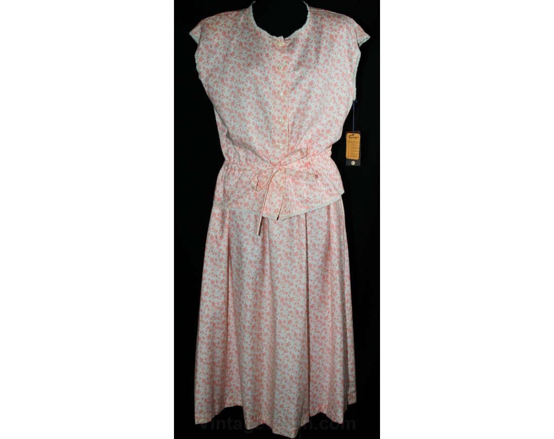 c562f120c51 Size 4 Prairie Peach Calico Cotton 2-Pc Dress Sleeveless