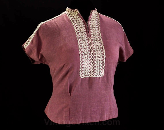 Size 14 1940s Shirt - Lilac Pink Faux Linen 40s To