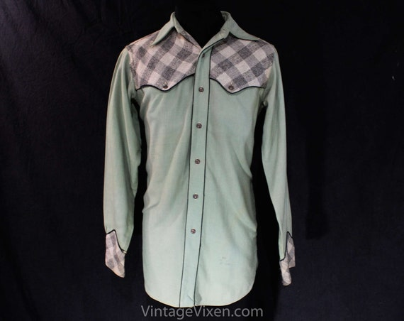 Men's Small 1930s 40s Western Shirt Sage Green Gabardine & Gray Plaid Mens Top 30s Autumn Rockabilly Cowboy Long Sleeve Chest 38