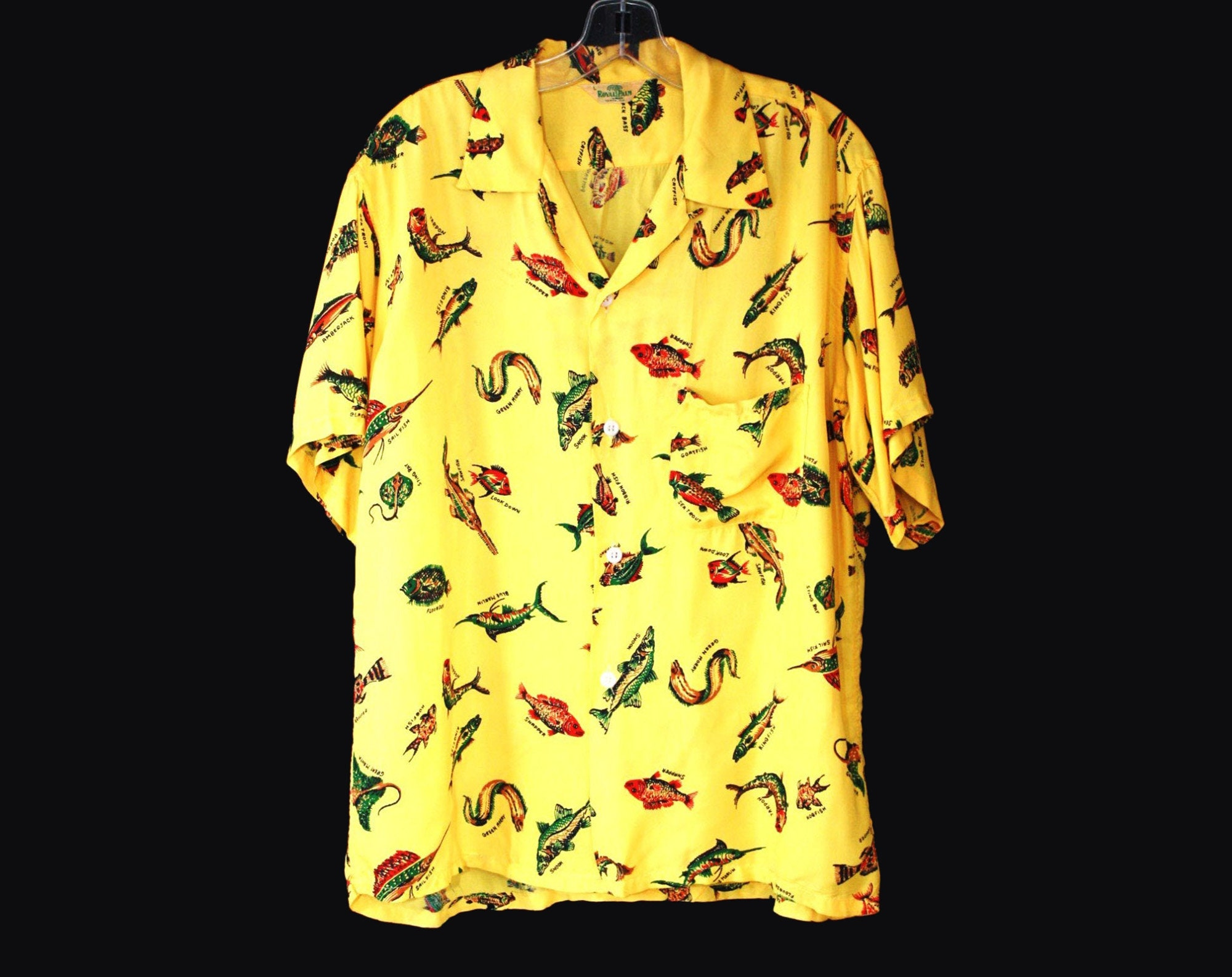 1940s Men's Shirts, Sweaters, Vests Size Large 1940S Mens Hawaiian Style Shirt - Florida Fishes Print Yellow Cold Rayon Top Mens 40S Rarity Royal Palm Tampa Chest 46 $35.95 AT vintagedancer.com
