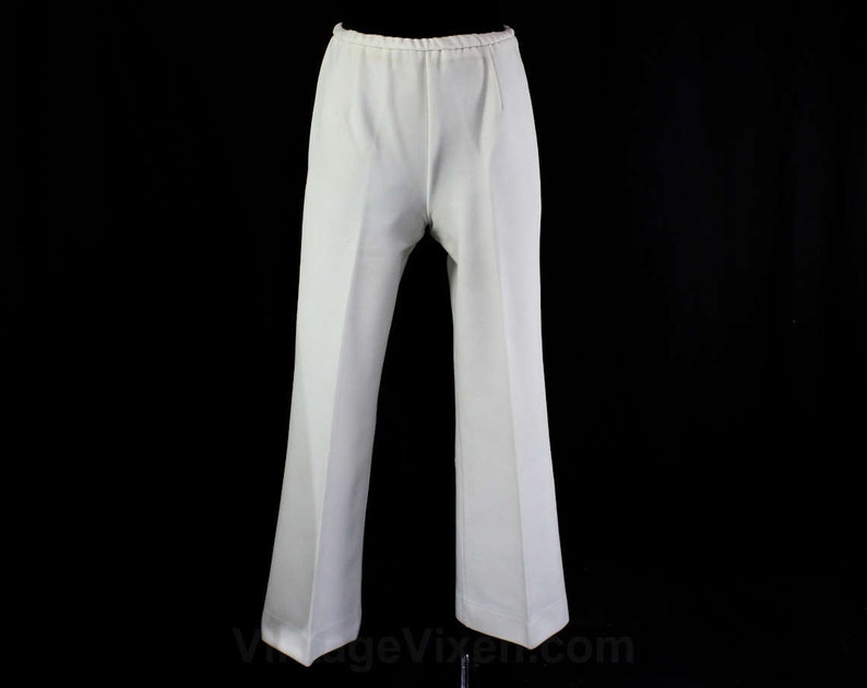 1970s Cheap Wide Leg Pants Waist 21 to 26 Act III Small Medium Size 6 White Pant 70s Polyester Knit Funky Town 70/'s Theme Party
