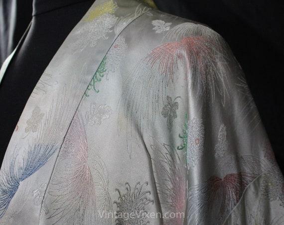 Asian Silver Brocade Kimono Robe - Ladies Size La… - image 5