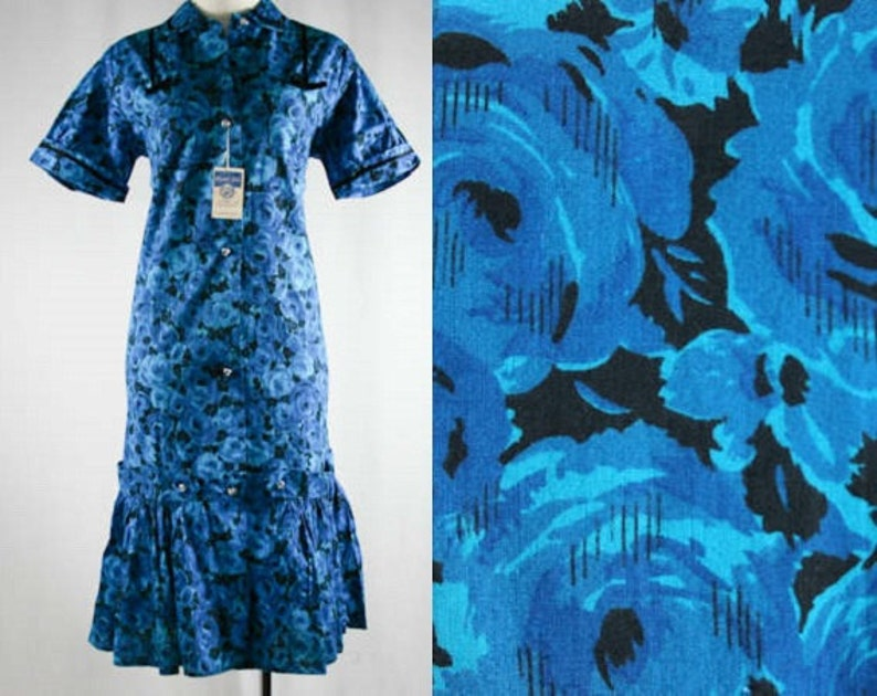 Mermaid Hem Size 10 Saucy 50s Teal Roses Print Dress with Black Satin Trim Bust 39 Blue 1950s Deadstock Waist up to 39-39711-1