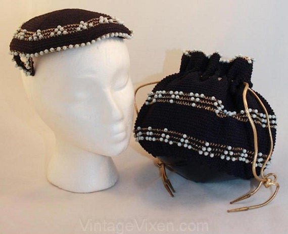Terrific 1950s Navy Crochet Hat & Handbag Set - Mu