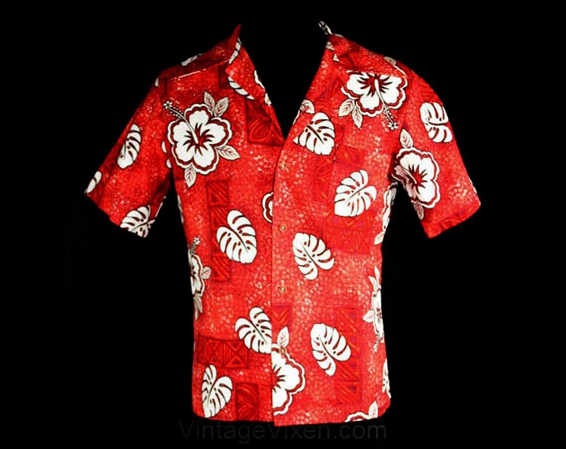 1960s – 70s Men's Ties | Skinny Ties, Slim Ties Mens Medium Tiki Shirt - 60S Brick Red Hibiscus Barkcloth Mens Summer Short Sleeved 1960S Cotton Top Small To Med Chest 40 $29.99 AT vintagedancer.com