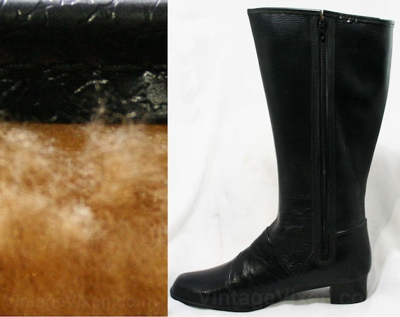 a4ae2e133ee7a Size Early Vinyl Black Boots Deadstock Faux Lined Rain 10 Winter ...