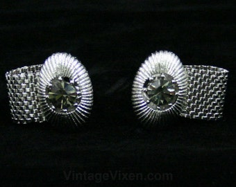 Big Bold Cufflinks - Gray Glass & Silver Metal - Men's Cuff Links - 60s Pimp Style - Mint Condition - Silvertone - 1960s Gift Idea - 42538