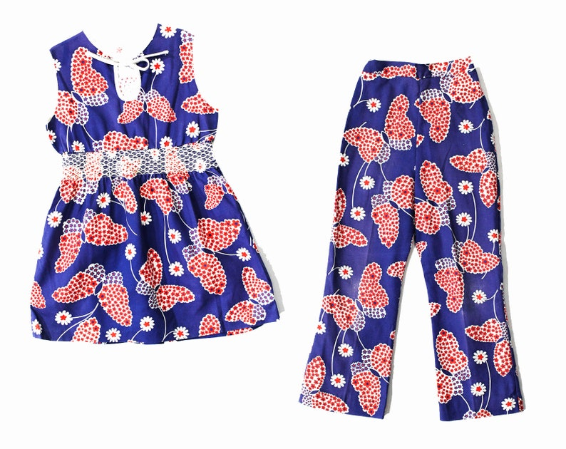 60s 70s Boho Two Piece Play Set Chest 28.5 Size 10 Girl/'s 1960s Hippie Outfit Girls Child Novelty Print Butterflies /& Daisies Cotton