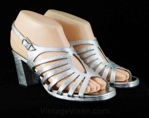 Ribcage 6 Mod Deadstock Toed 1960s 1 Size Sandals Design Metallic Shoes 48052 6M Open Silver 60s Pumps Formal Glam with Evening SCddqwO