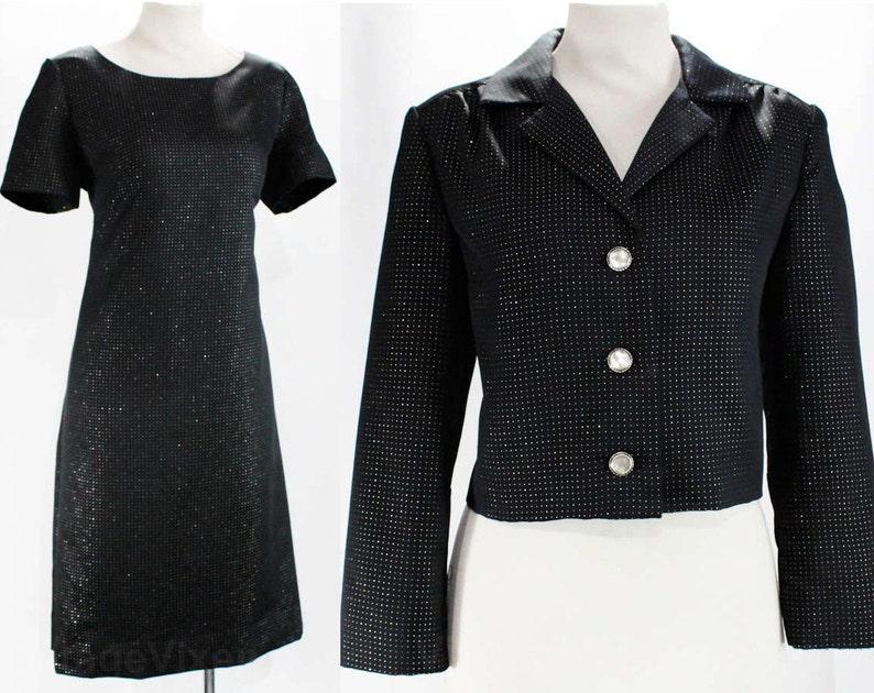 Bust 38-47589 Metallic Silver Twinkling Black Satin Chic 60s Suit 1960s Short Sleeved Sheath /& Jacket Size 12 Black Dress Set