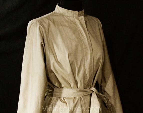 Size 12 Designer Trench Coat - 1980s Tan Cotton O… - image 9