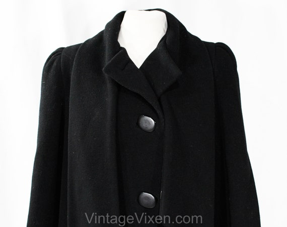 Size 10 Black Winter Coat - Designer 80s Overcoat… - image 4