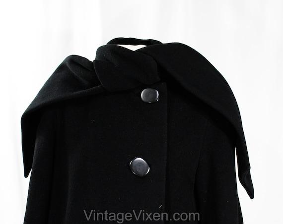 Size 10 Black Winter Coat - Designer 80s Overcoat… - image 3