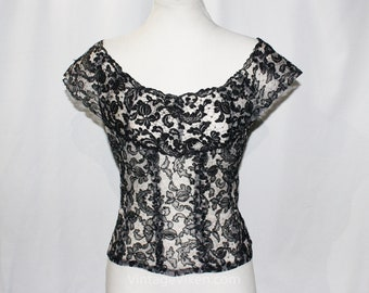 1950s Black Lace Blouse - Sheer 50s Pin Up Girl Top - Sexy Off Shoulder Coquette - Black & Gray Spiderweb Cob Web Lacy Print - Bust 35.5